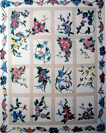 Applique Flower Quilts : hummingbird quilts - Adamdwight.com